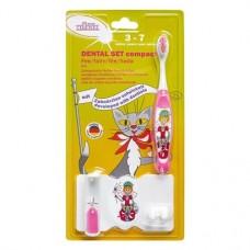 Dental szett, compact Packung Fee (1 Zahnbürste, 1 Zahnbürstenhalter mit Zahnputzuhr) pink