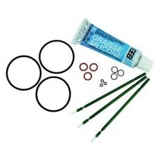 """AIR-N-GO """"Easy"""" szett, 12 O-gyűrű in 4 Größen (3 O-gyűrű je Größe), 1 Tube Silikonfett, 3 Pinsel zum Auftragen von Silikonfett, Wartungsanleitung"""