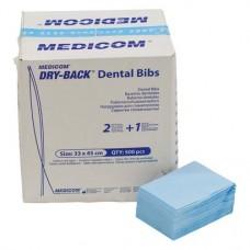 Dry-Back Dental Bibs (B), Szalvéták, kék, 3-rétegu, 33 cm x 45,5 cm, 500 darab