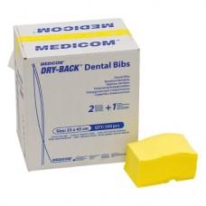 Dry-Back Dental Bibs, Szalvéták, sárga, 3-rétegu, 33 cm x 45,5 cm, 500 darab