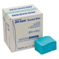 Dry-Back Dental Bibs, Szalvéták, aqua, 3-rétegu, 33 cm x 45,5 cm, 500 darab